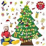 Fieltro Árbol de Navidad,El árbol de Navidad del Fieltro de los DIY fijó,3D Arbol de Navidad de Fieltro Decoración,DIY Arbol de Navidad Adornos y 3m Luces LED de Cuerda