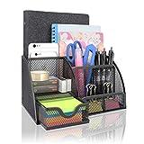 Organizador de escritorio con 7 estantes, compacto, de metal, con cajón, portapapeles,...
