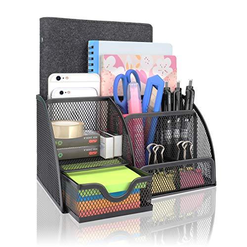 Organizador de escritorio con 7 estantes, compacto, de metal, con cajón, portapapeles, portalápices, color negro