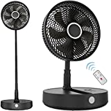 12-Inch Rechargeable Oscillating Foldaway Fan with Remote Control, Timer, 7200mAh 8-Speed, Cordless Battery Operated Standing Pedestal Fan Portable for Home Outdoor Camping Tent Travel