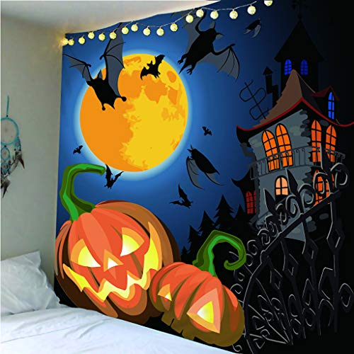 yiyishop Tapiz Calabaza Linterna Halloween Decoración Decoración del Hogar Manta De Picnic Mantel Toalla De Playa Arte Colgante De Pared 260(An) X300(W) Cm