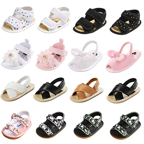 Bebeii Baby Girls Sandals Infant Closed Toe Flower Summer Shoes Anti-Slip Rubber Sole Toddler First Walk Shoes, B-pink, 0-6 Months Infant