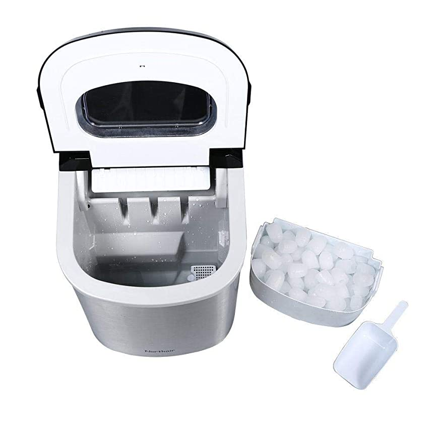 APENCHREN Cube Ice Maker/Ice Machine Maker, Portable Ice Maker, Produce 12kg of Ice Every Day - for Home, Parties, Bars and Restaurants,Silver