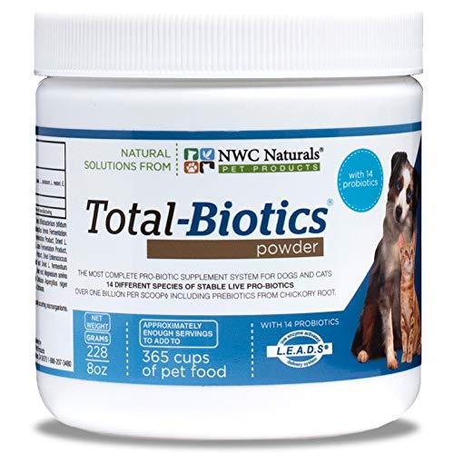 NWC Naturals Total-Biotics Probioticpowder for Dogs and Cats. With pre-biotics. Dog Probiotics, Cat Probiotics. Immune Support. 8oz.