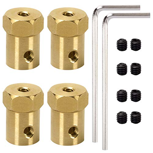 4 Pack 4mm Flexible Coupling Connector for Any Motors with Shaft Diameter of 0.157in/4mm - Car Wheels Tires Shaft