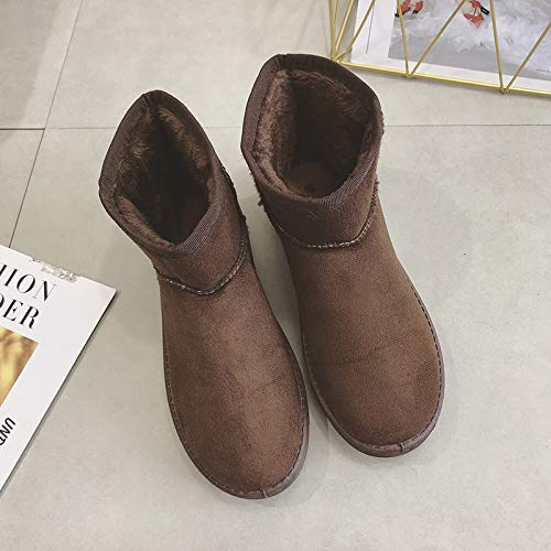 Shukun enkellaarsjes Sneeuwlaarzen Dikke Sneeuwlaarzen Women'S Korte laarzen Niet-slip Korte laarzen Women'S Boots om warme studenten te houden, Bruin, 38