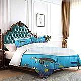 Hiiiman Juego de ropa de cama de 4 piezas Sea Life Anémona Tortugas Goldfish Snorkel Tropical Seascape Cartoon Design King Size W103 pulgadas x L90 pulgadas Juego de edredón con 2 fundas de almohada