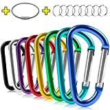 ZEINZE Carabiner Clip 3' Aluminum D-Ring Spring Loaded Gate Small Keychain Carabiners Clip Set for Outdoor Camping Mini Lock Hooks Spring Snap Link Key Chain Durable Improved Design 8 Pack (Assorted)