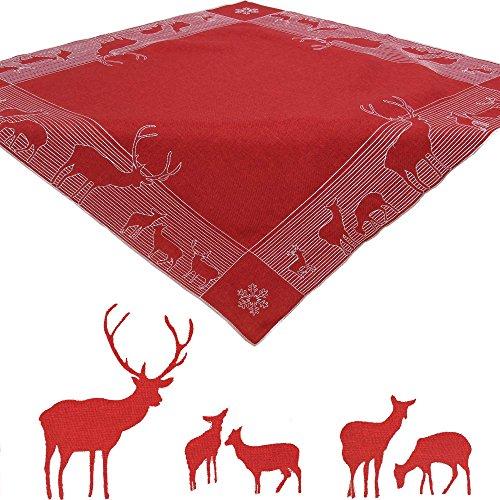 Quinnyshop Noël Cerf Hiver Broderie Surnappe 85 x 85 cm carré Polyester, Rouge