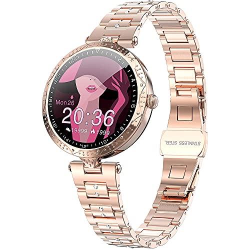 SmartWatch Rose Gold Ladies Smart Relojes para mujer Actividad HR Rastreadores de fitness Deportes Impermeable Tarifa cardíaca Presión arterial Monitor de salud Podómetro Música Pantalla táctil Moda P