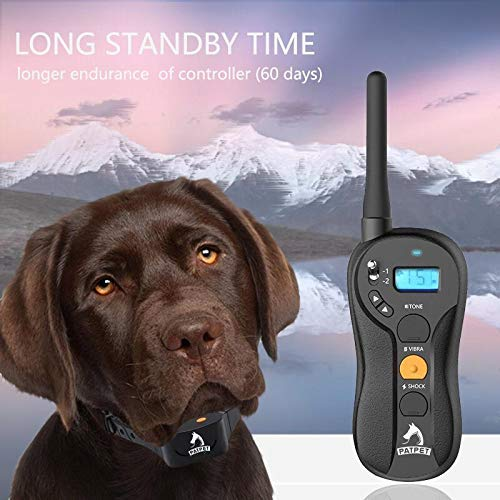 PATPET P620 Dog Training Shock Collar for Dogs with Vibration, Electric Shock, Beep; Rechargeable and Waterproof Remote Trainer E-Collar - 10-140 lbs