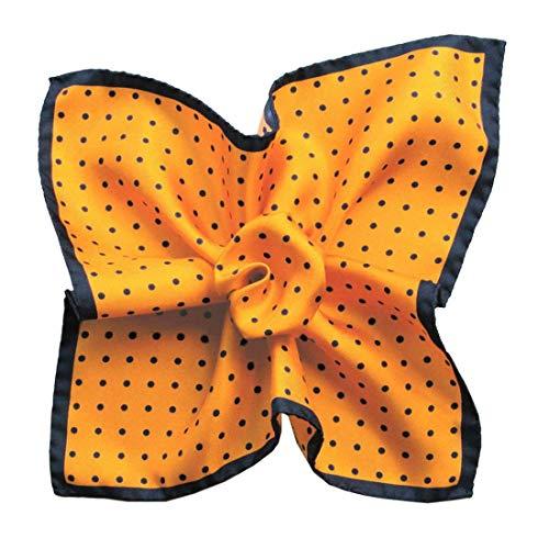 Segni et Disegni. Pochette. Dandy Segni, Soie. Orange, Pois. Fabriqué en Italie.