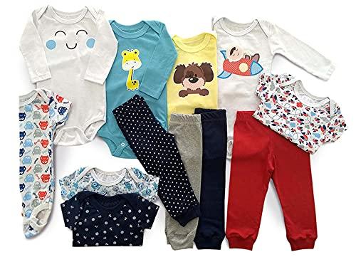 Body Bebê Mijão Liso Estampado Kit 12 Pçs Roupa Bebê Menino Tamanho:P