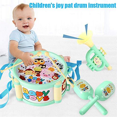 Soul hill Baby-Roll-Trommel-Musikinstrumente Kinder Schlagzeug, Kinder Spielzeug 5 PC-Trommel mit Drumsticks Whistle Tamburin, for 2-12-Jährigen Jungen und Mädchen