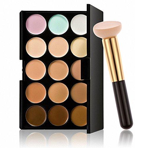 yotijar Paleta de Corrector en Crema de Enmascaramiento de Sombra de Ojos de 15 Colores con Pincel de Maquillaje - a,