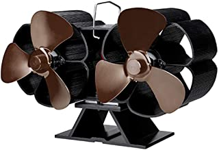 Twin Motor Heat Powered Stove Fan, 6 Blade Heat Powered Fireplace Fan for Small Space on Log/Wood Burner/Stove/Fireplace N...