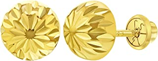 14k Yellow Gold Ball Earring Studs with Silicone Backs 14KBALLYGS