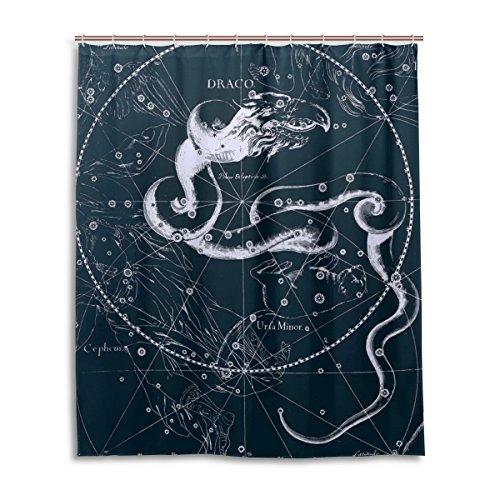 Bad Vorhang für die Dusche 152,4x 182,9cm, Fantasy Sternbild Graph Draco, Polyester-Schimmelfest-Badezimmer Vorhang