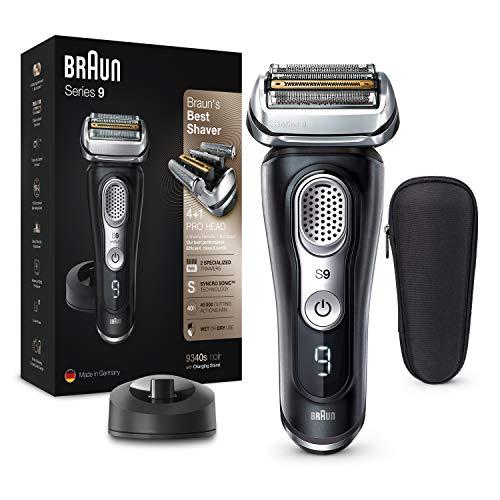 Braun Series 9 Afeitadora Eléctrica Hombre, Máquina de Afeitar Barba con Tecnología Sónica, Cabezal 4en1 para Uso en Seco y en Mojado, Base de Carga, Funda, Recargable, Inalámbrica, 9340 S, Negro