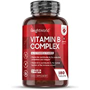 Vitamin B Complex Tablets - 180 Tablets (6 Month Supply) - B Vitamins Complex (B1, B3, B2, B5 B6, B7, B9, B12) + Vitamin C for Immune System & Energy, Plus Biotin, High Strength Vegan Supplement