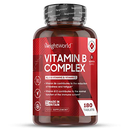 Vitamin B Complex Tablets - 180 Tablets (6 Month Supply) - B Vitamins Complex (B1, B3, B2, B5 B6, B7, B9, B12) + Vitamin C for Immune System & Energy, Plus Biotin, High Strength Vegan Supplement