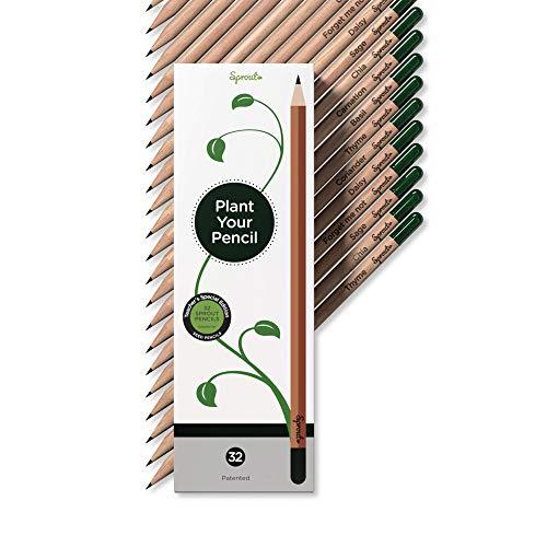 Sonderedition für Lehrer – Sprout Bleistifte aus umweltfreundlichem Holz mit Samen zum Einpflanzen | 32er Pack |Geschenkset mit Kräutern und Blumen
