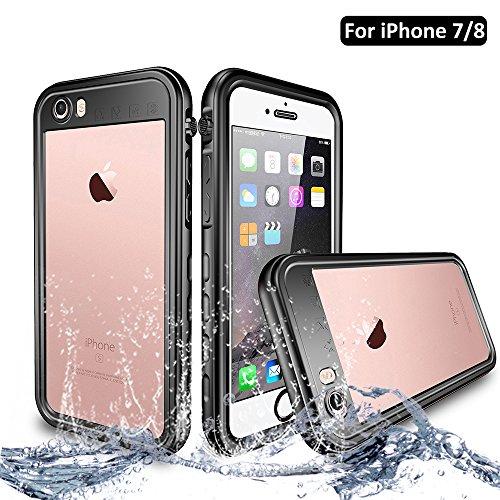 NewTsie Funda iPhone 7, Funda iPhone 8, Anti-rasguños Impermeable Carcasa Funda Case con Protector de Pantalla Submarino Caso para iPhone 7/8 4.7 Inch (T-Negro)