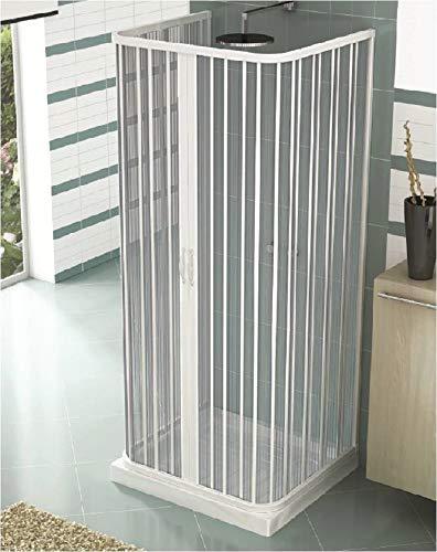 Duschkabine aus PVC Duschabtrennung 3 Seiten 2 Falttüren – zentrale Öffnung – U Form 70 x 90 x 70 cm, H 185 cm WEISS