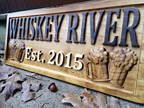 Personalized Bar Sign Custom Carved Wood Sign Personalized Wood Sign Groomsmen Gift Cabin Sign Man...