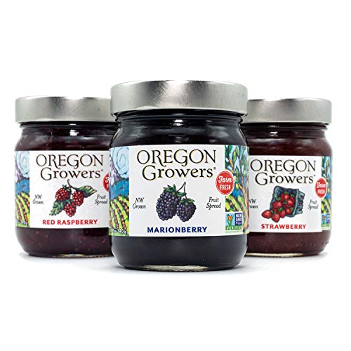 Oregon Growers, Marionberry, Strawberry, Red Raspberry, Non-GMO, Natural Fruit Spread, 12 Ounce (Pack of 3)