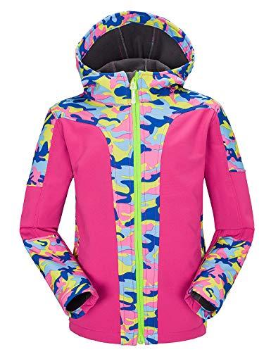Echinodon Kinder Softshelljacke warm wasserdicht Winddicht atmungsaktiv Mädchen Jungen Jacke mit Fleecefütterung Übergangsjacke Rosa
