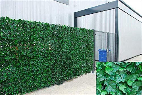 Welsh Green Screen Large Ivy Artificial Screening Leaf Hedge Panels on Roll Privacy Garden Fence, Green, 2.0m x 3m