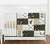Sweet Jojo Designs Green and Beige Deer Buffalo Plaid Check Woodland Camo Baby Boy Crib Bedding Set - 4 Pieces - Rustic Camouflage