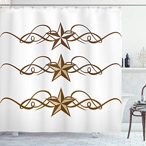 """Ambesonne Prehistoric Country Shower Curtain, Western Stars Scroll Design Ornate Swirls Antique Print, Cloth Fabric Bathroom Decor Set with Hooks, 75"""" Long, Light Brown"""