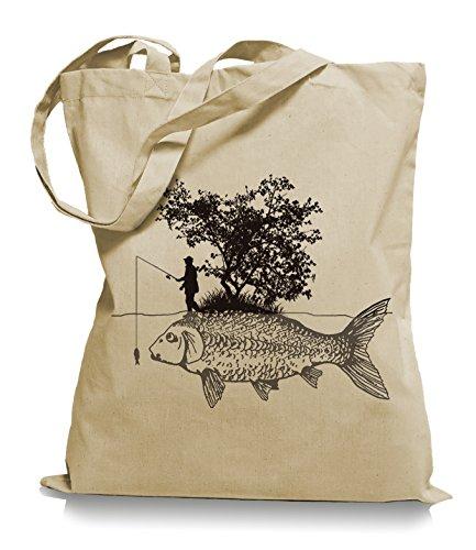 Ma2ca® Carp Fishing Angler Stoffbeutel Einkaufstasche Tasche Tragetasche/Bag WM101-sand
