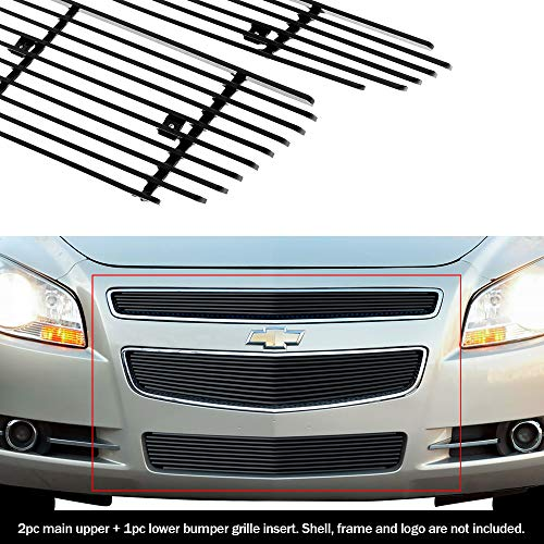 APS Compatible with 08-12 2012 Chevy Malibu Black Billet Grille Grill Combo Insert N19-H51016C