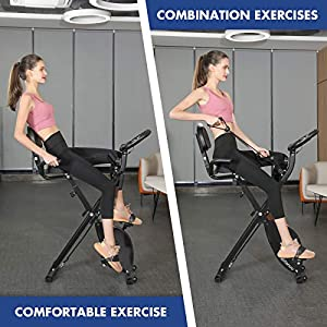 Exercise Bike Stationary Bike Foldable Magnetic Upright Recumbent Portable Fitness Cycle with Arm Resistance Bands Extra-large Adjustable Seat Pulse 3-in-1 Cycling Indoor Trainer for Home(Black)