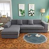 Correas Elásticas Protector de Muebles,Funda de sofá elástica sólida y gruesa, esquina de poliéster, funda para sofá, funda protectora para silla, sala de estar, gris, 3 plazas, 190-230 cm