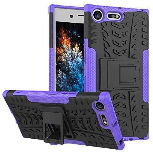 MRSTER Sony Xperia XZ Premium Custodia, [Heavy Duty Protezione] [Dual Layer] Difficile Silicone Kickstand Ibrida Shock Proof Cover Custodia Compatibile Sony Xperia XZ Premium. Hyun Purple