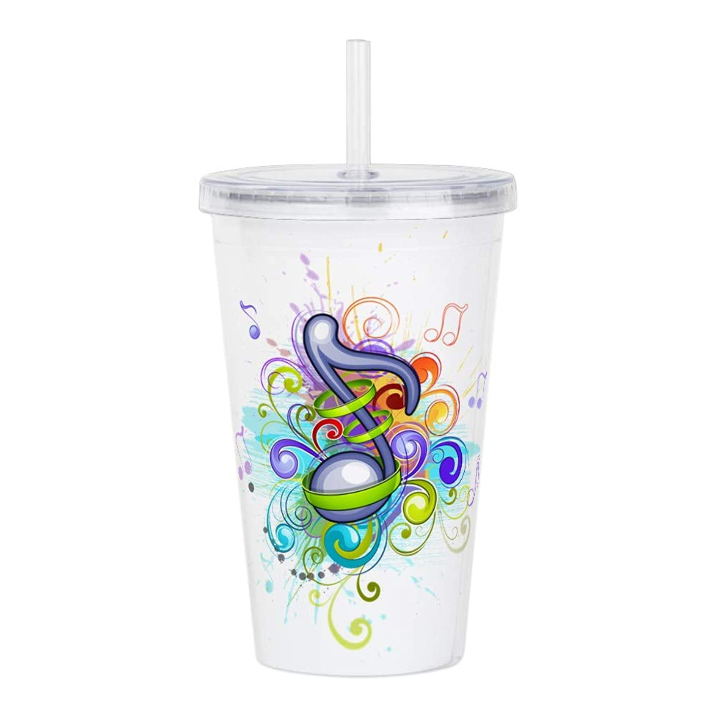 Acrylic Insulated Water Bottle Cup Musician Music Note Colorful HD