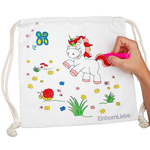 EinhornLiebe - Bolsa de deporte infantil con diseño de unicornio para pintar, incluye 5 lápices, 34 x 34 cm, color natural