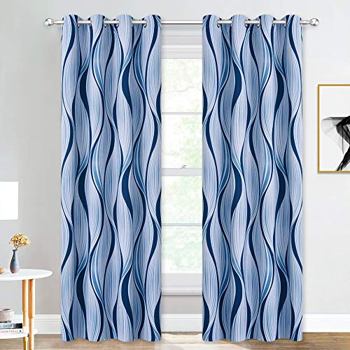 """NICETWON Blue Curtains 84"""" Intersect Geometry Pattern Printed Ring Top Room Darkening Drapes, Blue Wave Lines Home Decoration Curtain Panels for Living Room, 52"""" W, Sold as 2 Panels"""