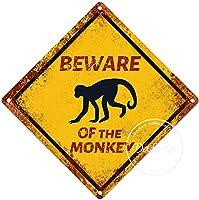 猿の警告サインに注意してください注意交差点サインヴィンテージ通知壁の装飾金属ポスター野生の池のプラーク工芸品農場森林フィールド砂漠