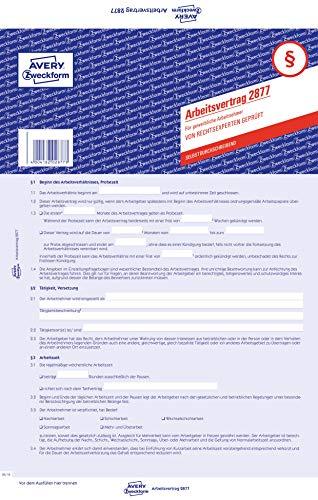 AVERY Zweckform 2877 Arbeitsvertrag für gewerbl. Arbeitnehmer (A4, 5 Sätze, 3-seitig, selbstdurchschreibender Durchschlag, mit allen Bestandteilen eines Arbeitsvertrags, von Rechtsexperten geprüft)