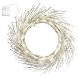 LampLust 23' Gold Glitter Pre-lit Wreath - 42 Warm White Sparkling LED Lights, Bendable Branches, Battery Operated, Timer Included