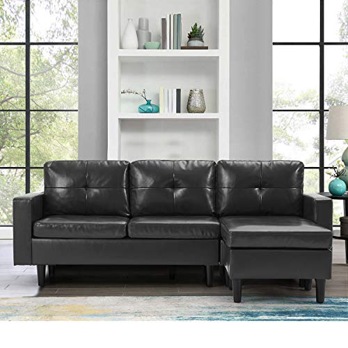 YODOLLA Convertible Sectional Sofa Couch, L-Shaped Sofa Couch with Modern Faux Leather, Black Gray Sectional for Small Space