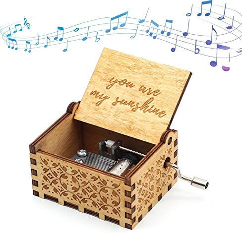 Funmo You Are My Sunshine Holz-Musikkästchen, mit Lasergravur, Vintage-Holz-Sonnenschein