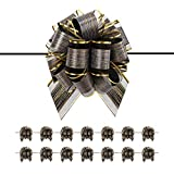 PACKQUEEN 15 Large Black Gift Bows, 6 inches, Ribbon Pull Bows for Gift Wrapping, Gift Wrap Bows for Decorating Presents