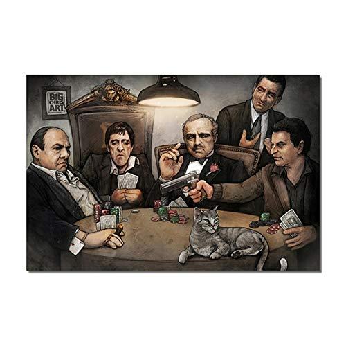 qianyuhe Impresión en Lienzo Gangsters Playing Poker de Chris Iconic Pintura al óleo sobre Lienzo Póster nórdico para la decoración del hogar de la Sala de Estar 60x90cm (24x36 Pulgadas