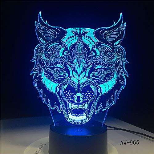 Jiushixw 3D acryl nachtlampje met afstandsbediening van kleur veranderende tafellamp met Wolf King Ongelooflijk witte Marokkaanse tafellamp